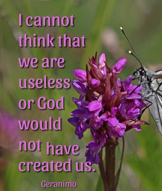 I cannot think that we are useless or God would have created us.