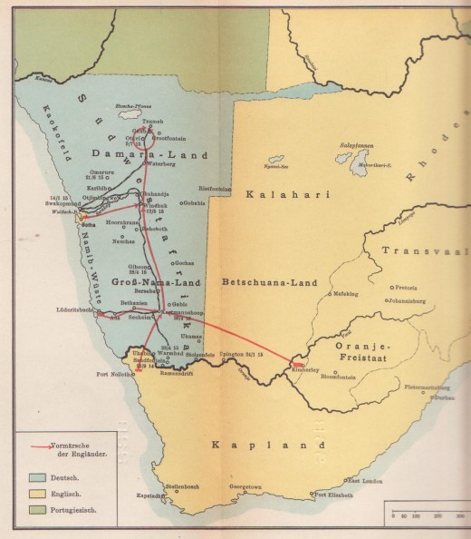 German map of 1915 showing lines of South African troop advances