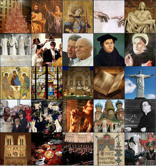 A collage of figureheads within Christianity, past and present.