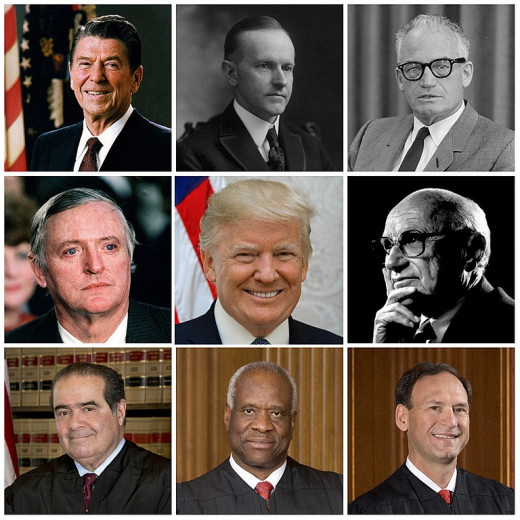 The pinnacles of modern conservative leadership, for better or worse. From top left: President Reagan, President Coolidge, Barry Goldwater, William F. Buckley Jr., President Trump, Milton Friedman, Justice Scalia, Justice Thomas, and Justice Alito.