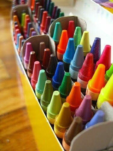 Crayons are not merely for children. Their brightness and ease of use can be relaxing and habit-forming, yielding peace through relaxed breathing and motion.