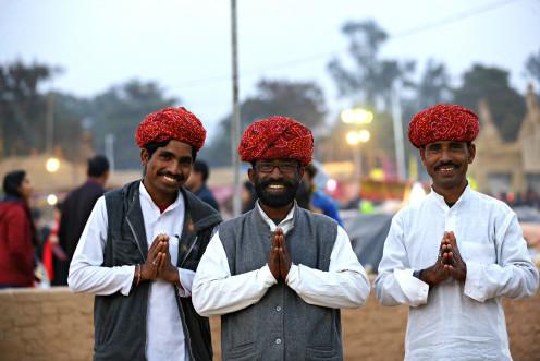 Indian people namskar as per tradition.