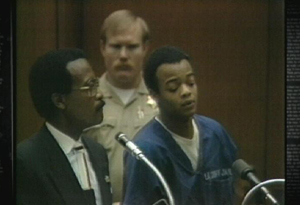 Todd Bridges in court with his lawyer the late Johnny Cochran in 1989