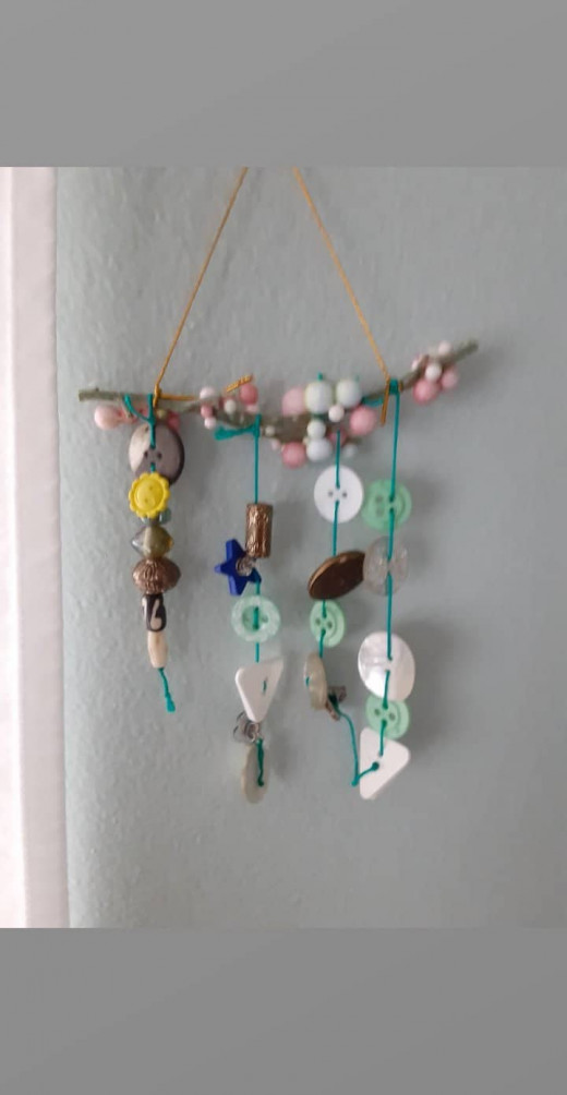 Beads and Buttons Window or Wall Decoration