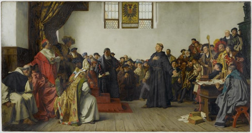 The Diet of Worms, with its meeting between the Emperor Charles V and Martin Luther.