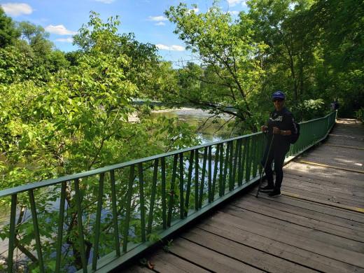 on the bridge.