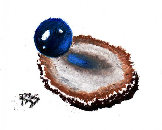 Blue Marble and Agate Slice still life in oil pastel by Robert A. Sloan. This still life is a study, simpler than a painting but showing that I can paint light falling through blue glass on a brown sliced agate. Your synopsis should be simple and ele