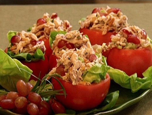 Here's a delicious recipe for chicken salad in tomato cups