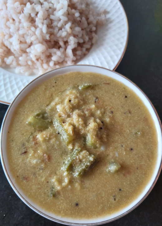 Ridge gourd-moong dal sambar is ready to serve. Serve hot with hot rice, chapati or roti.