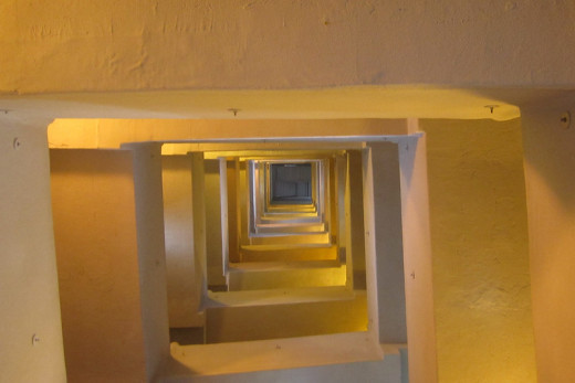 Looking down the inside of the structure from near the top.