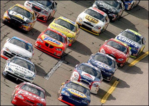 A CAR RACE;GLAMOUROUS AND BREATH TAKING