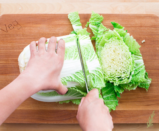 Cut the cabbage to bite size pieces
