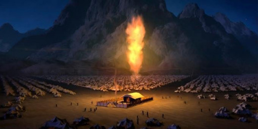 The cloud the Israelites followed by day became a pillar of fire at night.