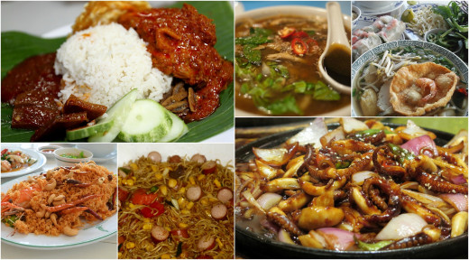 A sampling of Chinese foods