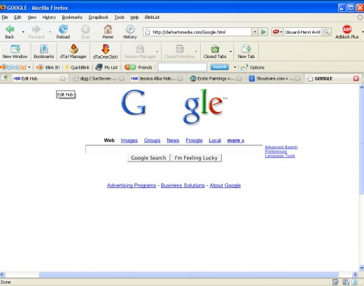 The Fake Google Home Page