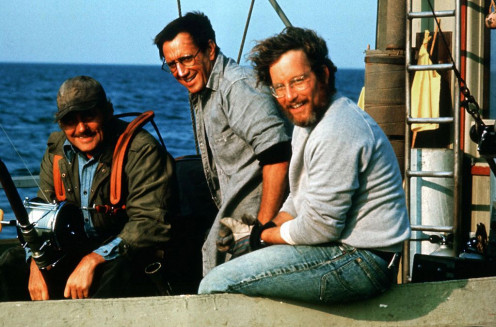 (from left to right) Robert Shaw, Roy Scheider, Richard Drefuss
