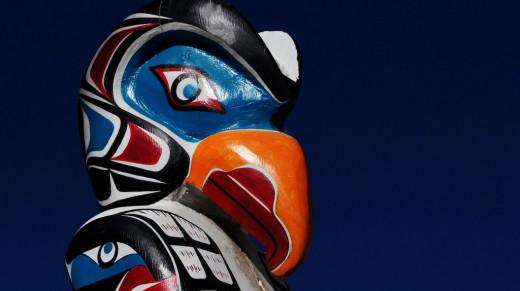 Carved Raven Totem pole