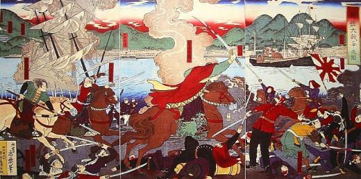 Land & Naval Battle of Hakodate, Japan c. 1880