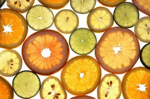 Assortment of citrus fruit wedges