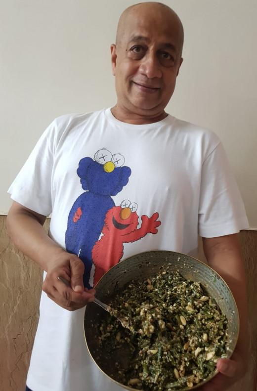 Shekhar with the freshly prepared Levantine style bean salad