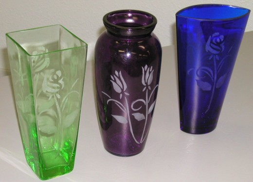 Exquisite hand etched flower vases