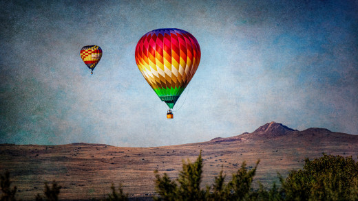 The hot air balloons floating across the mountains of Albuquerque were a breathtaking sight.