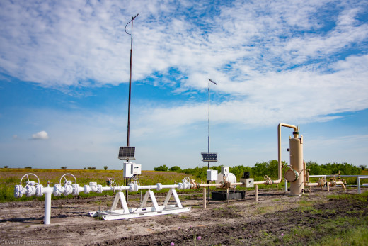 A natural gas meter station with solar powered instruments.