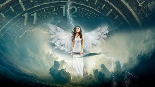 Female Angel holding Magical Sword while standing on clouds