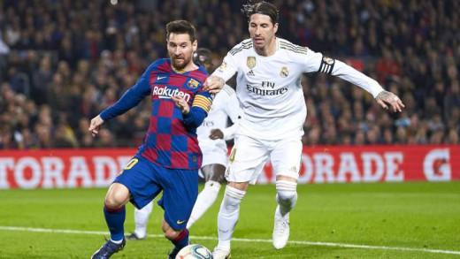 Lionel Messi (left) and Sergio Ramos (right).
