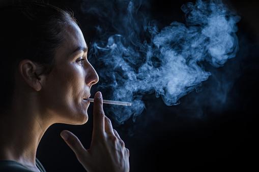 A lady smoking