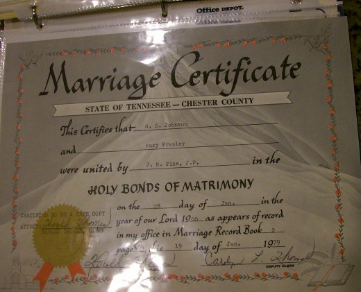 Mariage license used to document historical marriage research.