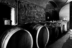 The Cellar and Wine barrels.