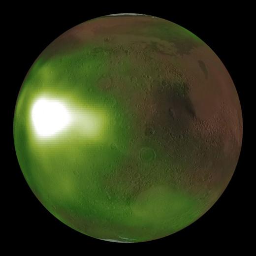 MAVEN Observes Martian Night Sky Pulsing in Ultraviolet Light on August 06, 2020.