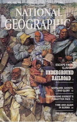 Jerry Pinkney (1939-  ) Underground Railroad and Resistance Cover for National Geographic Vol. 166 No.1 July, 1984 Watercolor