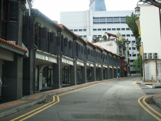 A modern looking street in Chinatown, Singapore