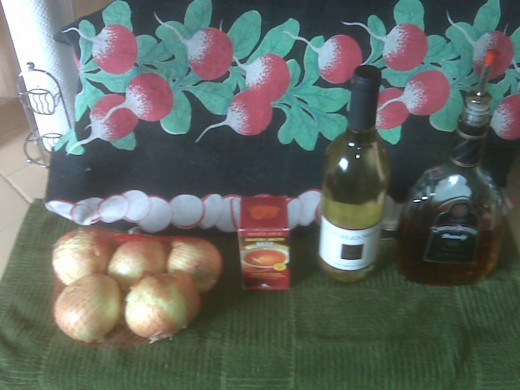 Onion, Stock, Wine & Brandy (this is only about half the onions you'll need)