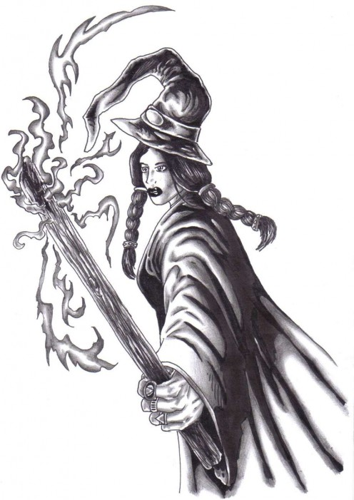 A witch drawing sketched and drawn by Wayne Tully.