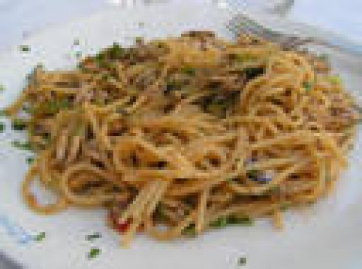Anchovy Pasta with Bread Crumbs