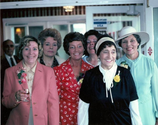 The Evans sisters in the 1970s (from left): Eileen, Ivy, Olive, Josie, Rose and Alice.