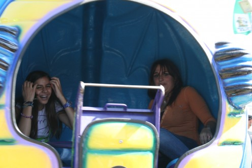 Inside the ride, Christiana and Nedda