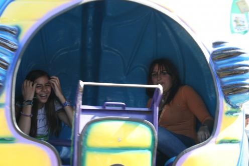 Inside the ride, Christiana and Nedda