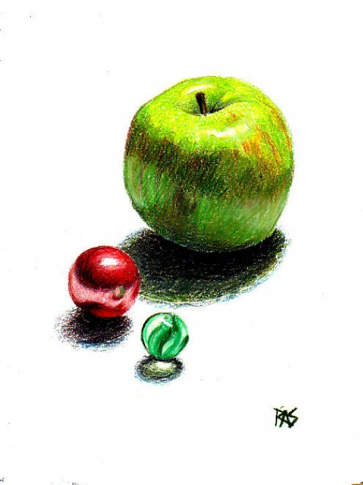 "Apple and Glass Marbles, 5"" x 7"" Prismacolor colored pencils on Stonehenge paper by Robert A. Sloan"