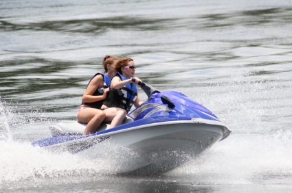 Two women enjoying their jet ski