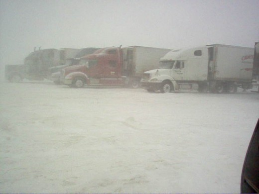 Truck Stop During Blizzard