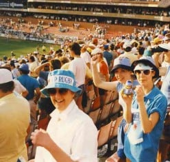 The excitement of a final at Loftus Versfeld. Catherine and Susan at the 1988 final. Source Catherine McGregor