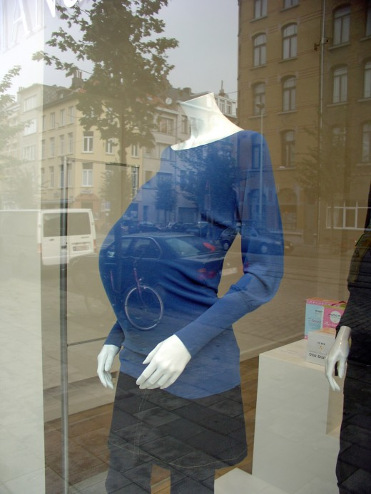Pregnant Mannequin!  Note the intersting double image
