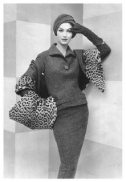 Suit by Jacques Fath, from L'Officiel, 1957.