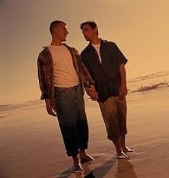 Men Holding Hands on Beach