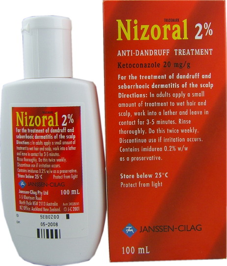 Nizoral Shampoo 2% label showing the instructions.