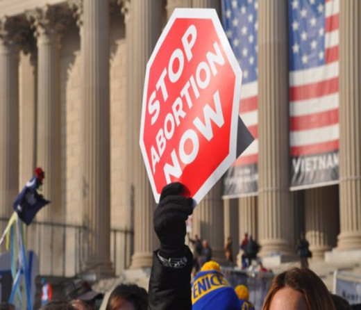 Stop Abortion printed banner
